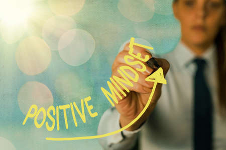 Writing note showing Positive Mindset. Business concept for mental attitude in which you expect favorable results Digital arrowhead curve denoting growth development concept
