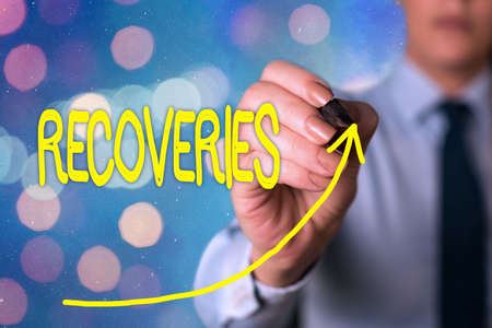 Text sign showing Recoveries. Business photo text process of regaining possession or control of something lost digital arrowhead curve rising upward denoting growth development concept