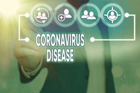 Word writing text Coronavirus Disease. Business photo showcasing defined as illness caused by a novel virus SARSCoV2 Information digital technology network connection infographic elements icon Banco de Imagens