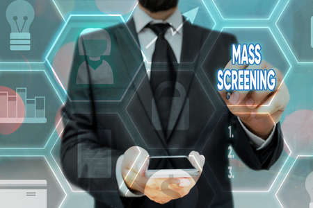 Writing note showing Mass Screening. Business concept for health evaluation performed at a large amount of population Grids and different icons latest digital technology concept