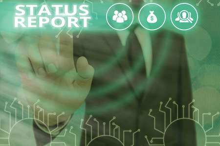 Writing note showing Status Report. Business concept for summarizes the particular situation as of a stated period System administrator control, gear configuration settings tools concept Stockfoto