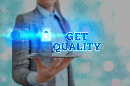 Text sign showing Get Quality. Business photo showcasing features and characteristics of product that satisfy needs Graphics padlock for web data information security application system