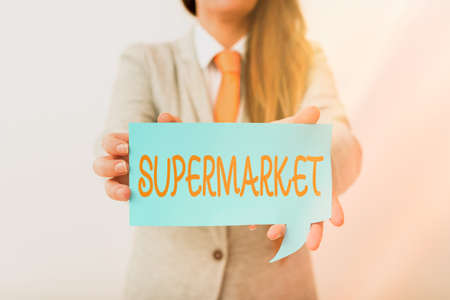 Writing note showing Supermarket. Business concept for organized selfservice shop offering wide variety of product Displaying different color mock up notes for emphasizing content Stock Photo