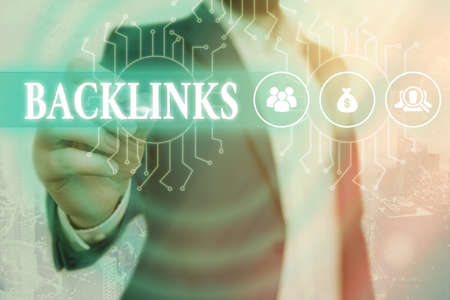 Text sign showing Backlinks. Business photo showcasing links from one website to a page on another website or page System administrator control, gear configuration settings tools concept 免版税图像