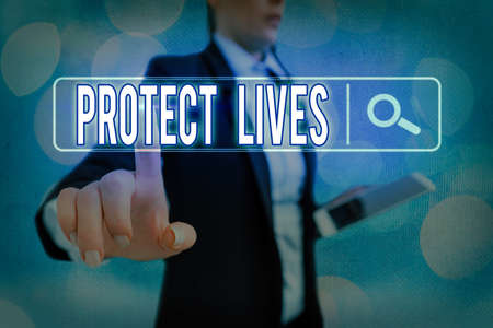 Conceptual hand writing showing Protect Lives. Concept meaning to cover or shield from exposure injury damage or destruction Web search digital futuristic technology network connection