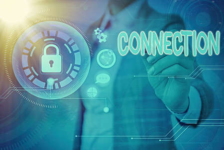 Writing note showing Connection. Business concept for relationship in which an individual, thing is linked to something else Graphics padlock for web data information security application system