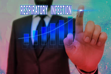 Conceptual hand writing showing Respiratory Infection. Concept meaning any infectious disease that directly affects the normal breathing Arrow symbol going upward showing significant achievement