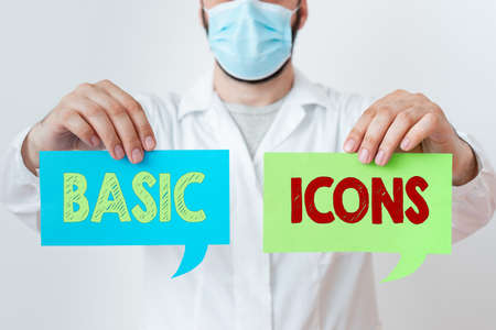 Word writing text Basic Icons. Business photo showcasing pictogram or ideogram displayed on a computer screen or phone Laboratory Technician Featuring Empty Sticker Paper Accessories Smartphone