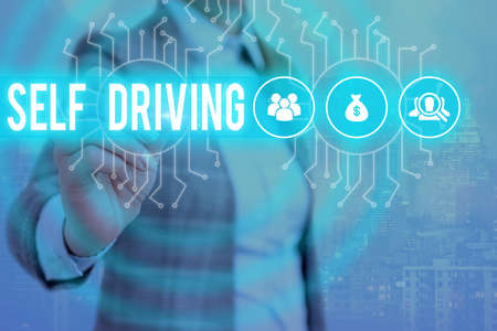 Word writing text Self Driving. Business photo showcasing Autonomous vehicle Ability to navigate without input System administrator control, gear configuration settings tools concept Banque d'images