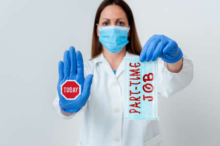 Word writing text Part Time Job. Business photo showcasing Weekender Freelance Casual OJT Neophyte Stint Seasonal Laboratory blood test sample shown for medical diagnostic analysis result