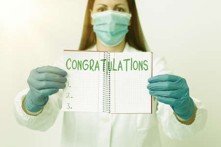 Word writing text Congratulations. Business photo showcasing a congratulatory expression usually used in plural form Laboratory technician featuring empty sticker paper accessories smartphone