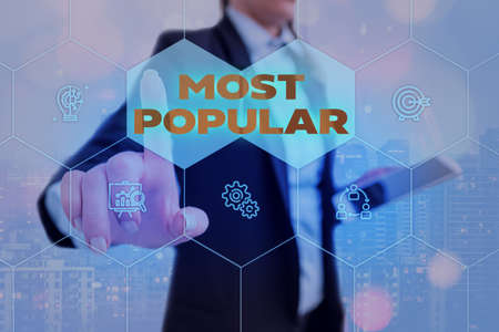 Text sign showing Most Popular. Business photo showcasing Liked Followed Enjoyed by majority of the showing in a society Grids and different set up of the icons latest digital technology concept