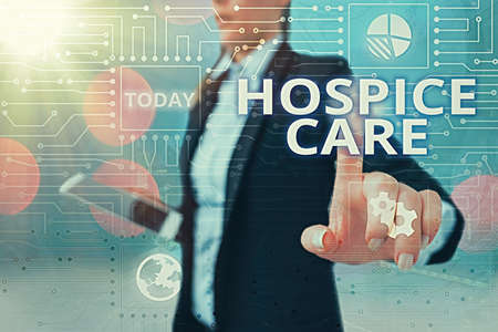 Writing note showing Hospice Care. Business concept for focuses on the palliation of a terminally ill patient s is pain System administrator control, gear configuration settings tools concept Stockfoto