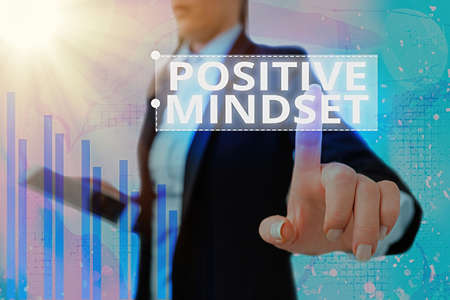 Text sign showing Positive Mindset. Business photo showcasing mental attitude in which you expect favorable results Arrow symbol going upward denoting points showing significant achievement Banco de Imagens