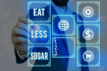Writing note showing Eat Less Sugar. Business concept for reducing sugar intake and eating a healthful diet rich foods Grids and different icons latest digital technology concept