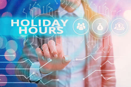 Handwriting text writing Holiday Hours. Conceptual photo employee receives twice their normal pay for all hours System administrator control, gear configuration settings tools concept