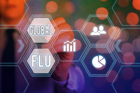 Conceptual hand writing showing Global Flu. Concept meaning Common communicable illness spreading over the worldwide fast Grids and different icons latest digital technology concept