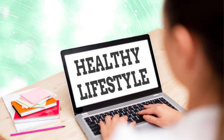 Handwriting text writing Healthy Lifestyle. Conceptual photo way of living that lowers the risk of being seriously ill Modern gadgets with white display screen under colorful bokeh background