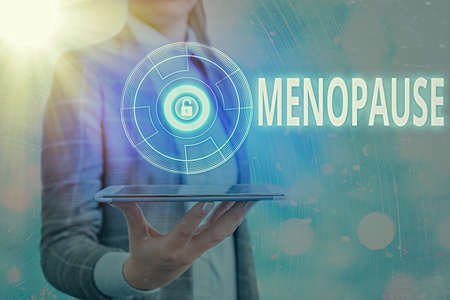 Text sign showing Menopause. Business photo text natural cessation of menstruation that usually occurs around 45 Graphics padlock for web data information security application system Banco de Imagens