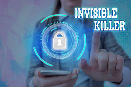 Text sign showing Invisible Killer. Business photo text presence into the air of a substance which are harmful Graphics padlock for web data information security application system Stock Photo
