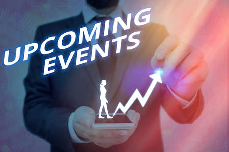 Writing note showing Upcoming Events. Business concept for the approaching planned public or social occasions Arrow symbol going upward showing significant achievement Banco de Imagens