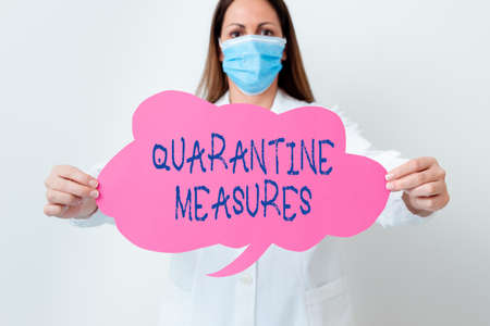 Handwriting text Quarantine Measures. Conceptual photo safety procedure to follow preventing the transmission of disease Laboratory technician featuring empty sticker paper accessories smartphone