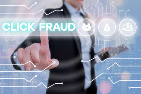 Writing note showing Click Fraud. Business concept for practice of repeatedly clicking on advertisement hosted website System administrator control, gear configuration settings tools concept