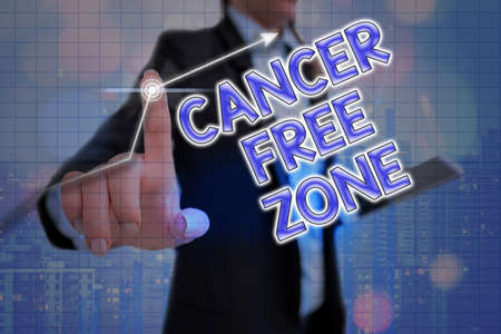 Handwriting text Cancer Free Zone. Conceptual photo supporting cancer patients and raising awareness of cancer Arrow symbol going upward denoting points showing significant achievement