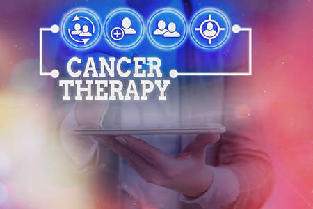Writing note showing Cancer Therapy. Business concept for the treatment of cancer in a patient often with chemotherapy Information digital technology network infographic elements
