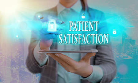 Handwriting text writing Patient Satisfaction. Conceptual photo the extent to which a patient is happy with their healthcare Graphics padlock for web data information security application system Banco de Imagens
