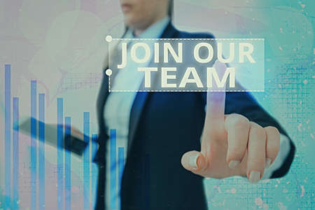 Text sign showing Join Our Team. Business photo showcasing inviting someone to join in your local group or company Arrow symbol going upward denoting points showing significant achievement Banco de Imagens