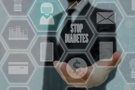 Handwriting text writing Stop Diabetes. Conceptual photo prevent the disease of elevated glucose level in the blood Grids and different set up of the icons latest digital technology concept