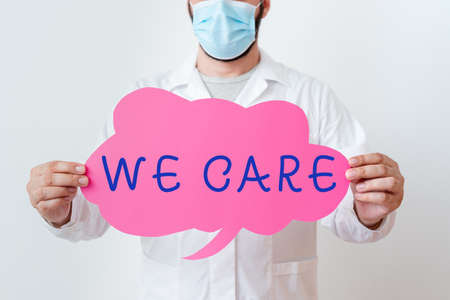 Text sign showing We Care. Business photo text Cherishing someones life Giving care and providing their needs Laboratory Technician Featuring Empty Sticker Paper Accessories Smartphone