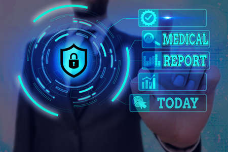 Word writing text Medical Report. Business photo showcasing report of the results of a medical examination of a patient Graphics padlock for web data information security application system Banco de Imagens