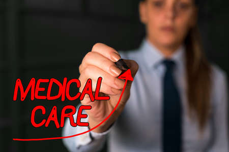 Word writing text Medical Care. Business photo showcasing the professional attention of medical practitioners in health digital arrowhead curve rising upward denoting growth development concept Banco de Imagens
