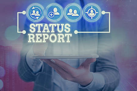 Writing note showing Status Report. Business concept for summarizes the particular situation as of a stated period Information digital technology network infographic elements Imagens