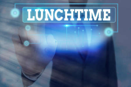 Conceptual hand writing showing Lunchtime. Concept meaning the time at which lunch is usually eaten : NOON, 12 o clock Information digital technology network infographic elements Banco de Imagens