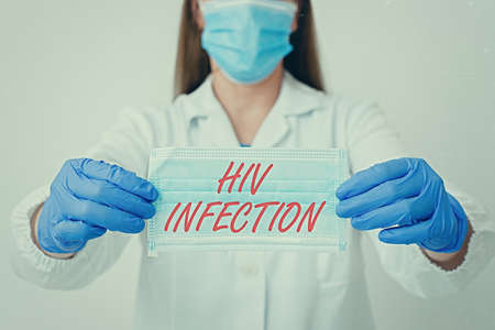 Text sign showing Hiv Infection. Business photo showcasing A disease of the immune system due to the infection of HIV Laboratory blood test sample shown for medical diagnostic analysis result