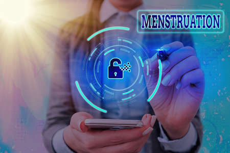 Conceptual hand writing showing Menstruation. Concept meaning cyclical discharging of blood and tissue debris from the uterus Graphics padlock for web data security application system