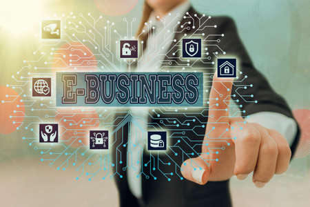 Writing note showing E Business. Business concept for the process of conducting commercial transaction over internet System administrator control, gear configuration settings tools concept Banco de Imagens