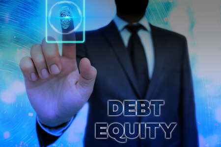 Conceptual hand writing showing Debt Equity. Concept meaning dividing company total liabilities by its stockholders Information digital technology network infographic elements