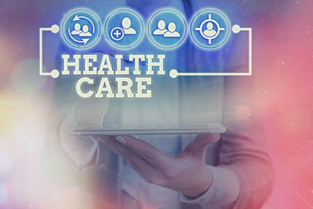 Writing note showing Health Care. Business concept for organized provision of medical care to individuals or community Information digital technology network infographic elements
