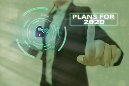 Conceptual hand writing showing Plans For 2020. Concept meaning an intention or decision about what one is going to do Graphics padlock for web data security application system