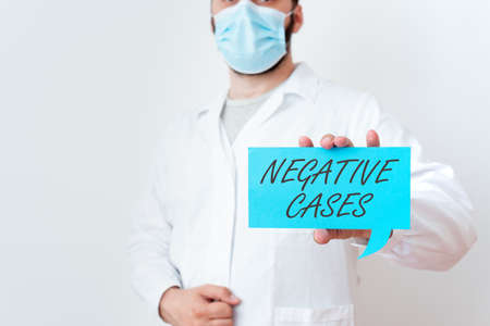 Text sign showing Negative Cases. Business photo text circumstances or conditions that are confurmed to be false Laboratory Technician Featuring Empty Sticker Paper Accessories Smartphone