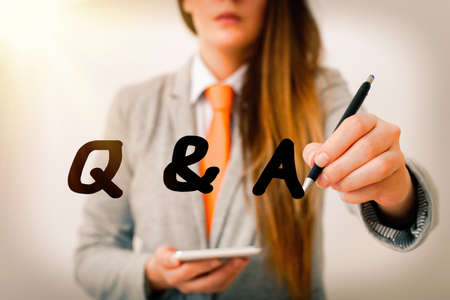 Word writing text Q And A. Business photo showcasing a period of time or an occasion when someone answers questions Model displaying different shots of holding pen ready for promotional use
