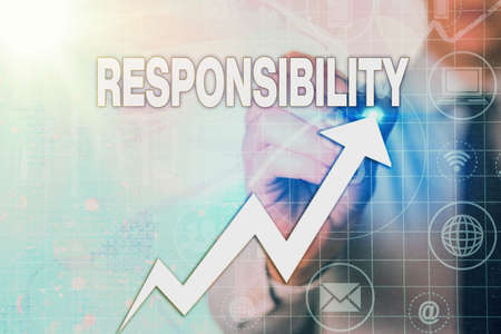 Writing note showing Responsibility. Business concept for state of being responsible, something for one is responsible Arrow symbol going upward showing significant achievement