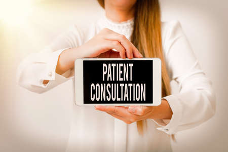 Text sign showing Patient Consultation. Business photo showcasing examining discuss a patient and his or her condition Model displaying black screen modern smartphone mock-up for personal interest