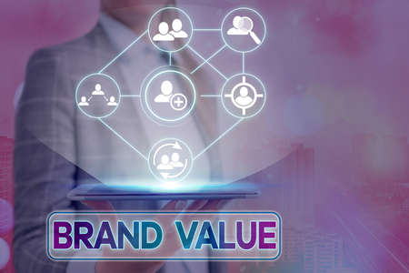 Text sign showing Brand Value. Business photo showcasing company generates from product with recognizable for its names Information digital technology network connection infographic elements icon Banco de Imagens