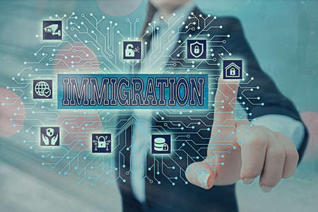 Writing note showing Immigration. Business concept for the action of coming to live permanently in a foreign country System administrator control, gear configuration settings tools concept