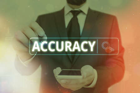 Word writing text Accuracy. Business photo showcasing degree of conformity of a measure to a standard or a true value Web search digital information futuristic technology network connection Stok Fotoğraf